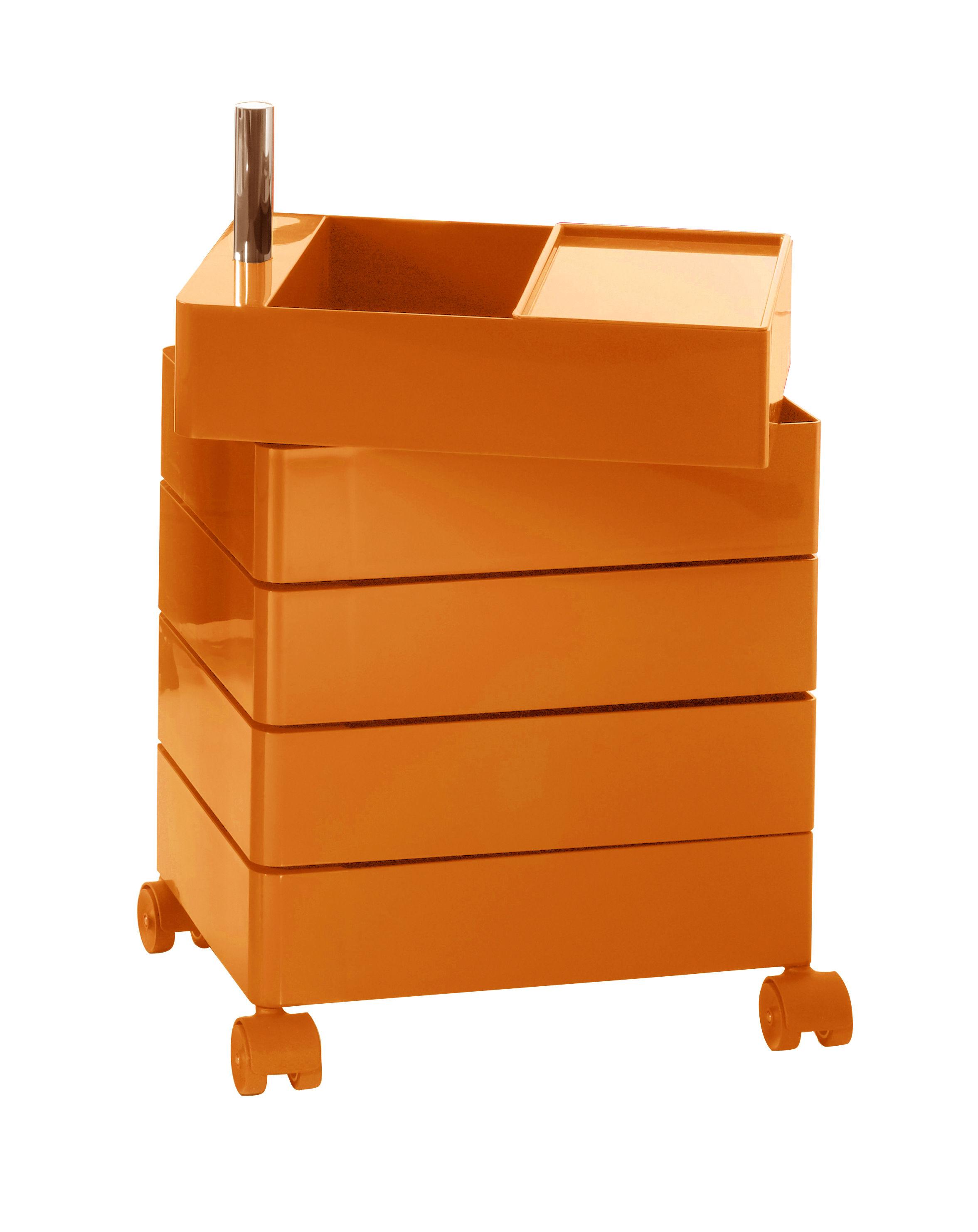 Arredamento - Mobili Ados  - Cassettiera con rotelle 360° - 5 cassetti di Magis - Arancione lucido - ABS laccato, Alluminio