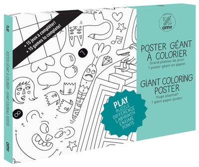 Decoration - Children's Home Accessories - Play Colouring poster - / Giant - L 115 x 80 cm by OMY Design & Play - Black, White - Papier recyclé