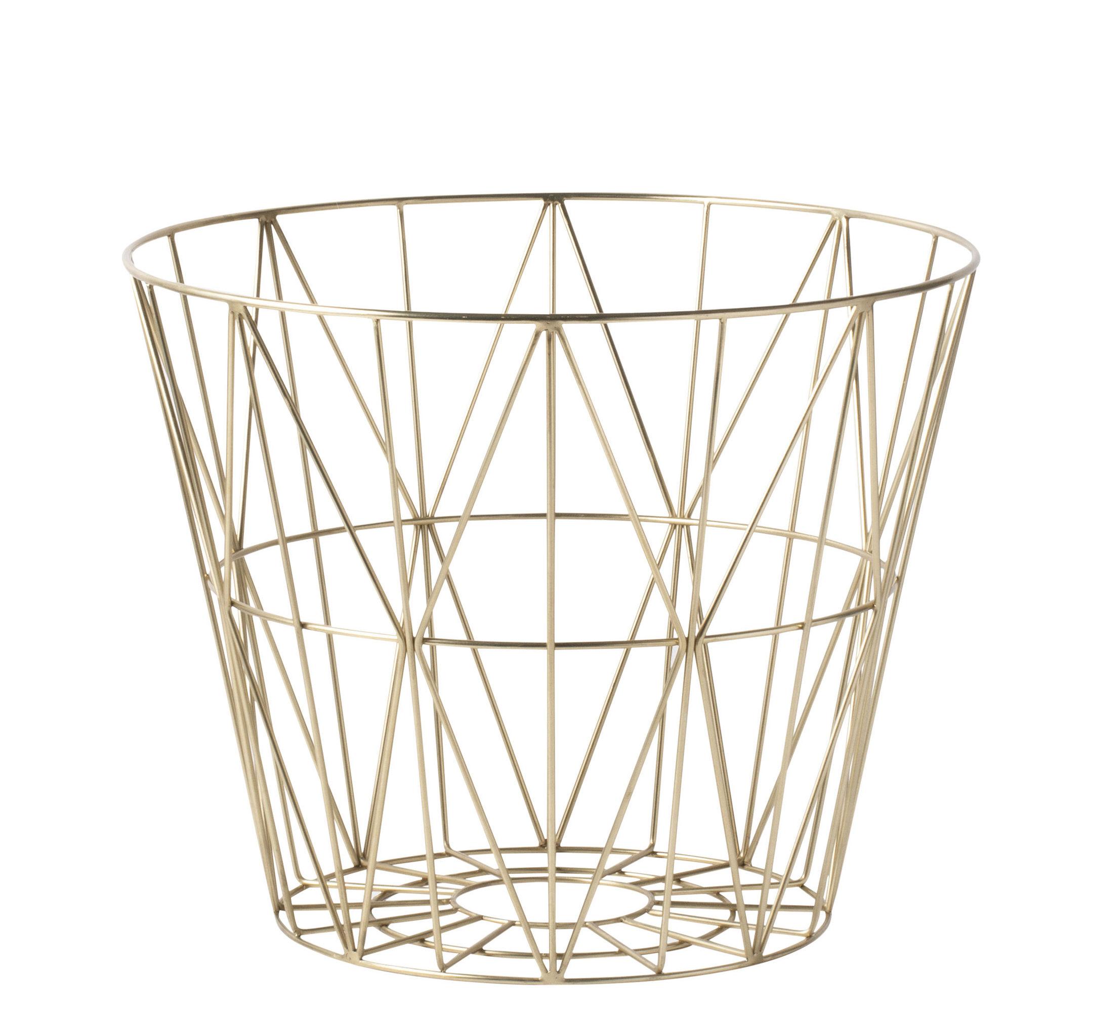 Déco - Corbeilles, centres de table, vide-poches - Corbeille Wire Small / Ø 40 x H 35 cm - Ferm Living - Laiton - Métal plaqué laiton