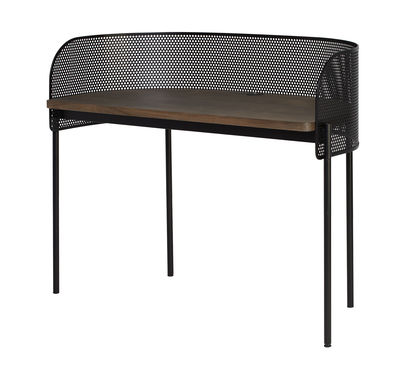 Furniture - Office Furniture - Shelter Desk - / Perforated steel - L 125 cm by Northern  - Black / smoked oak - Smoked oak plywood