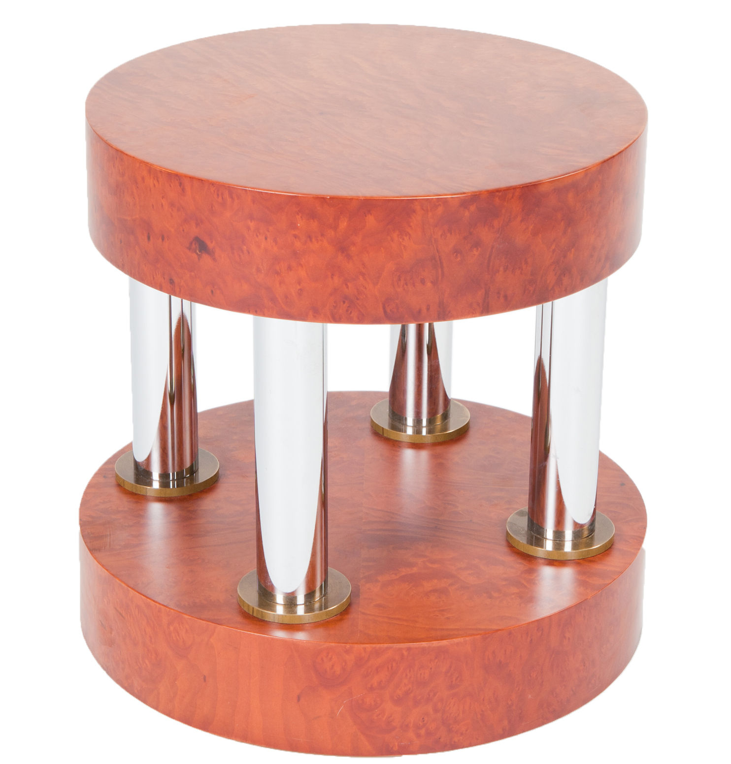 Furniture - Coffee Tables - Hyatt End table by Memphis Milano - Brown / White legs - Chromed metal, Walnut burl plated wood