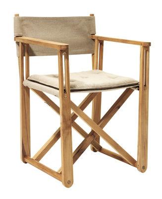 Mobilier - Chaises, fauteuils de salle à manger - Fauteuil pliant Kryss /Coussin d'assise - Réédition 1975 - Skargaarden - Teck / Tissu beige - Teck, Toile