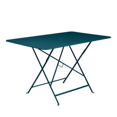 Outdoor - Garden Tables - Bistro Foldable table - / 117 x 77 cm - 6 people - Parasol hole by Fermob - Acapulco blue - Painted steel