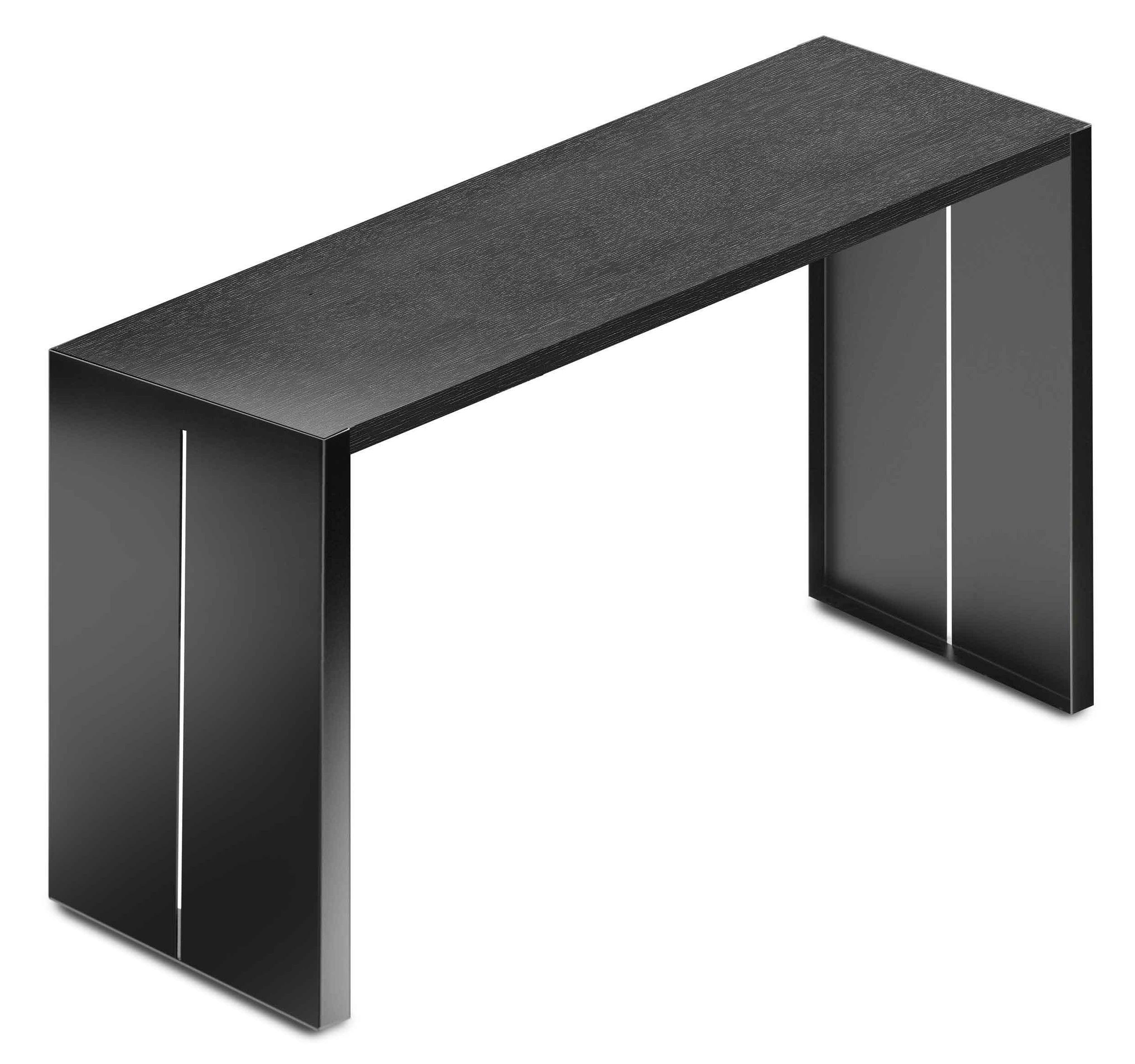Möbel - Stehtische und Bars - Panco hoher Tisch H 110 cm - Lapalma - Schwarz - L 180 cm - epoxy-beschichtetes Metall, getönte Eiche