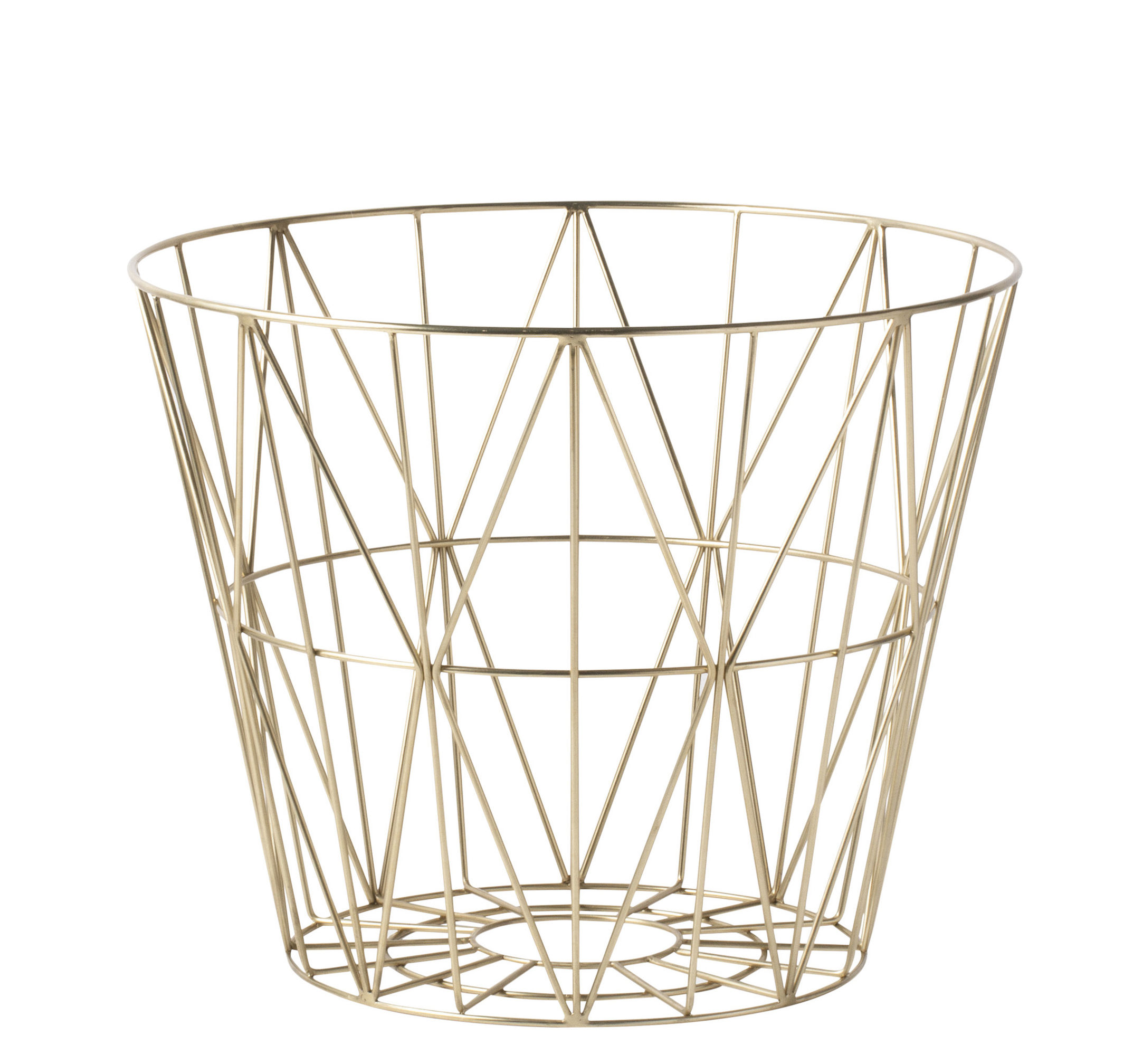 Dekoration - Tischdekoration - Wire Small Korb / Ø 40 cm x H 35 cm - Ferm Living - Messing - Métal plaqué laiton