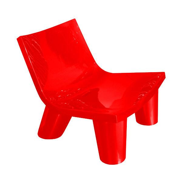 Möbel - Möbel für Teens - Low Lita Lounge Sessel lackiert - Slide - Rot lackiert - Polyéthylène recyclable laqué