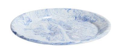 Tavola - Piatti  - Piatto Soft Ice - / Ø 26 cm - Acciaio smaltato di Hay - Venature blu - Acciaio smaltato