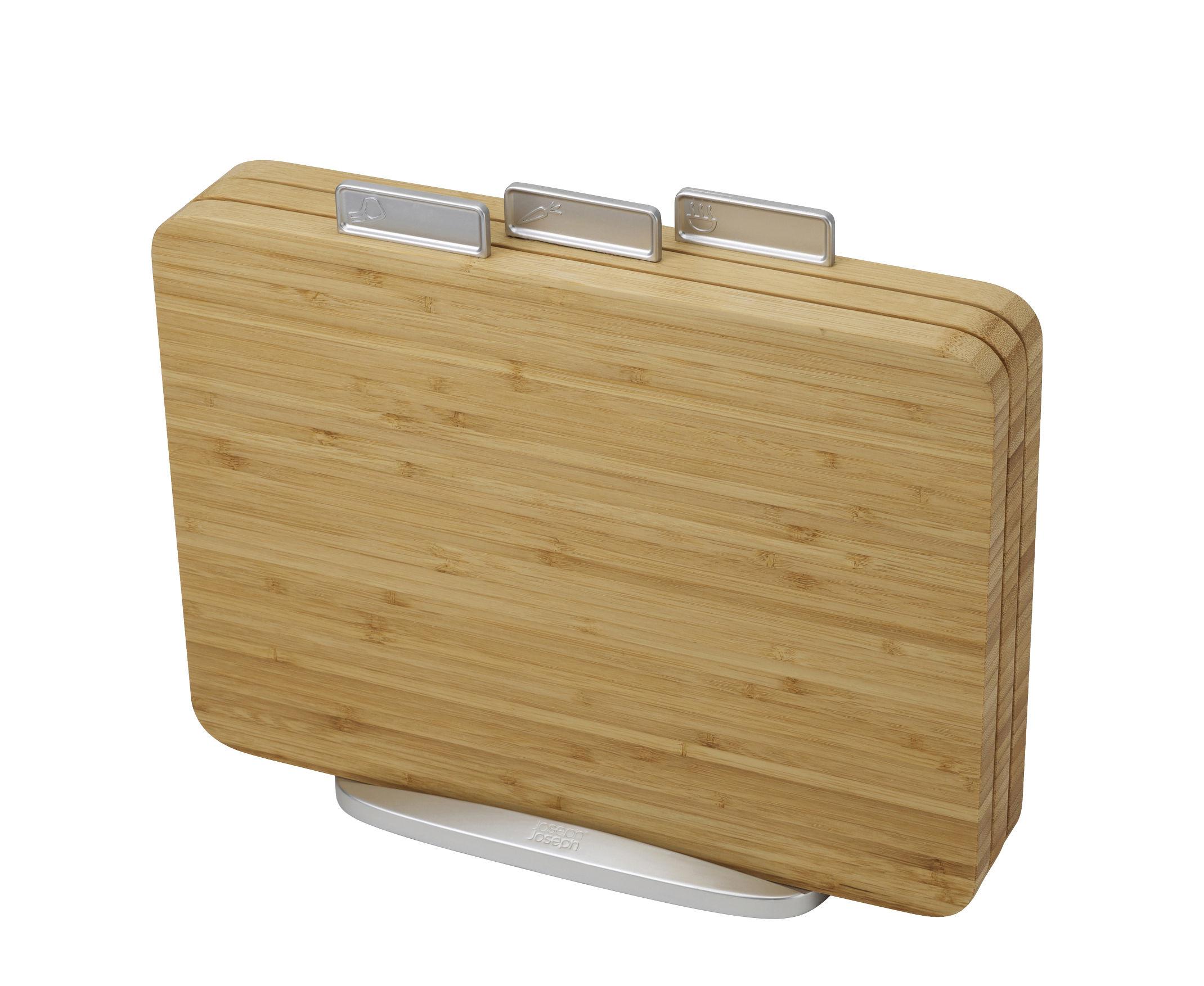 Cuisine - Ustensiles de cuisines - Planche à découper Index Bambou / Set de 3 + support - Joseph Joseph - Bambou naturel - Bambou, Métal