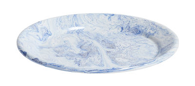 Tableware - Plates - Soft Ice Plate - Ø 26 cm - Enamelled steel by Hay - Blue marbling - Enamelled steel