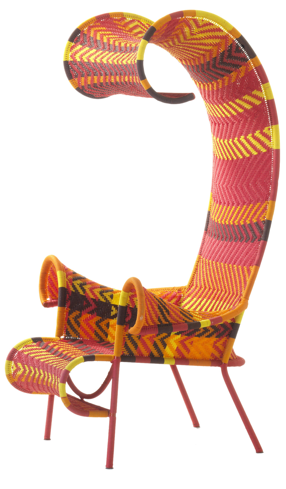 Arredamento - Poltrone design  - Poltrona Shadowy di Moroso - Multired (arancione, giallo, marrone, rosso) - Acciaio verniciato, Fili in plastica