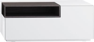 Arredamento - Mobili Ados  - Portaoggetti Inmotion - basso -  L 85 x H 32 cm di MDF Italia - Larg 85 cm / Bianco opaco - Scomparto aperto legno grigio - MDF