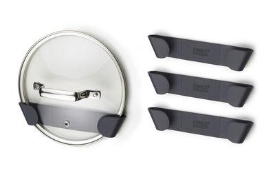 Kitchenware - Kitchen Storage Jars - Lid holders - adhesive / For cupboard - Set of 4 by Joseph Joseph - Grey - Polypropylene