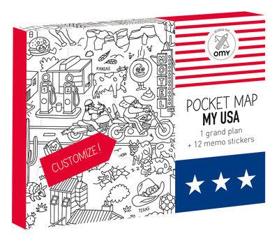 Poster à colorier Pocket Map - USA / 52 x 38 cm - OMY Design & Play blanc,noir en papier