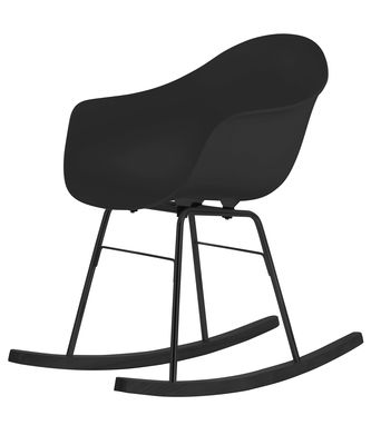 Furniture - Armchairs - TA Rocking chair - Wood sledge by Toou - Black / Black sledges - Lacquered metal, Painted oak, Polypropylene