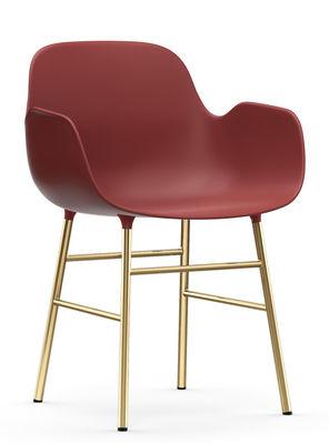 Form Sessel / Stuhlbeine Messing - Normann Copenhagen - Rot,Messing