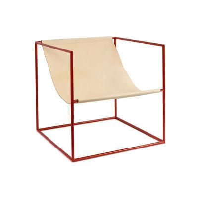 Möbel - Lounge Sessel - Solo Seat Sessel / Leder - valerie objects - Leder beige / Gestell rot - Leder, Stahl