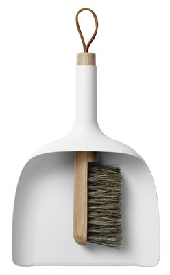 Cuisine - Vaisselle et nettoyage - Set pelle & balayette Sweeper and Funnel - Menu - Blanc - Crin de cheval, Frêne, Plastique
