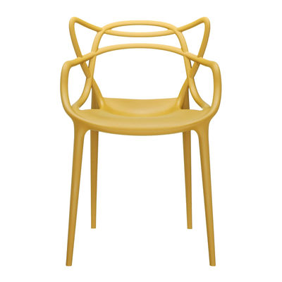 Furniture - Chairs - Masters Stackable armchair - Plastic by Kartell - Mustard - Recycled thermoplastic technopolymer