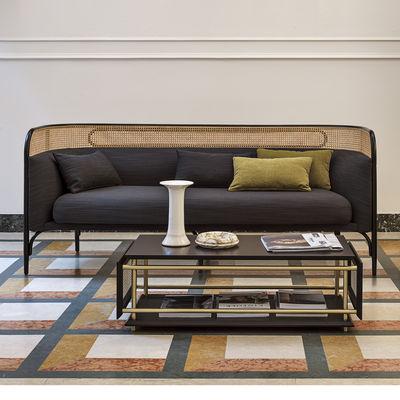 Furniture - Sofas - Targa Straight sofa - / L 160 cm - Caning & fabric by Wiener GTV Design - Anthracite (Raas fabric) / Natural beech - Curved beech, Kvadrat fabric, Polyurethane foam, Straw
