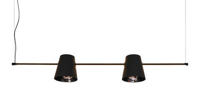 Luminaire - Suspensions - Suspension Cupido LED / L 149 cm - 2 abat-jours - Karman - Noir / Motif femme asiatique - Aluminium laqué, Coton