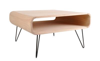 Arredamento - Tavolini  - Tavolino Metro Square Large - / L 80 x H 46 cm di XL Boom - Legno naturale / Piede nero - Bois d'hévéa, metallo verniciato