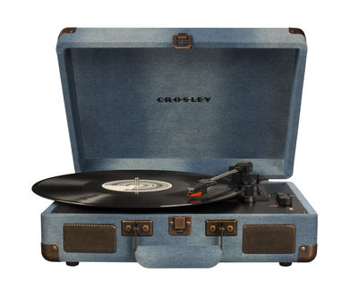 Christmas - Best price gifts - Cruiser Deluxe Turntable - / portable - Bluetooth - Built-in stereo speakers by Crosley - Denim - Denim, Plastic material, Wood