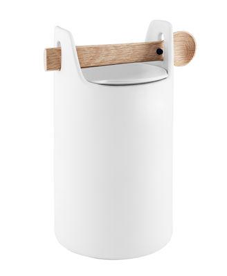 Cucina - Lattine, Pentole e Vasi - Vaso ermetico Toolbox Large - / Coperchio & cucchiaio di legno di Eva Solo - Bianco / rovere - Ceramica, Rovere massello, Silicone