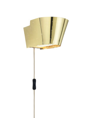 Lighting - Wall Lights - 9464 Wall light with plug - / 1947 reissue by Gubi - Polished brass - Laiton poli perforé