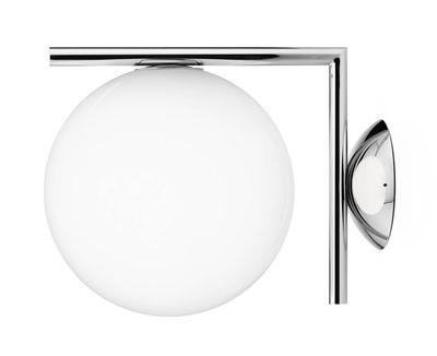 Leuchten - Wandleuchten - IC W1 Wandleuchte / Ø 20 cm - Flos - Chrom-glänzend - geblasenes Glas, verchromter Stahl
