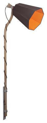 Leuchten - Wandleuchten - LuXiole Wandleuchte mit Stromkabel H 225 cm - Designheure - Lampenschirm braun / Innenseite orange - Baumwolle, Buchenfurnier, lackierter Stahl