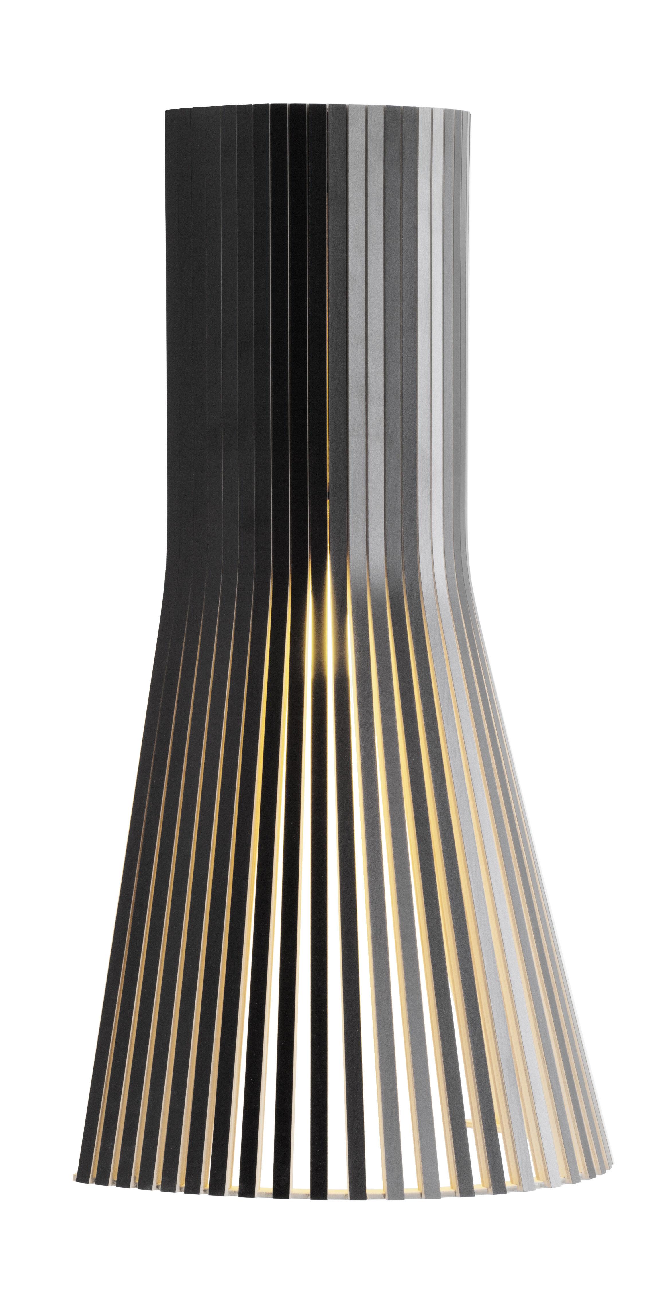 Illuminazione - Lampade da parete - Applique con presa Secto S - / H 45 cm di Secto Design - Nero / Cavo nero - Lattes de laminé de bouleau