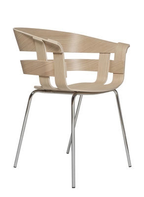 Furniture - Chairs - Wick Armchair - 4 legs by Design House Stockholm - Oak / Chromed legs - Chromed steel, Placage de chêne