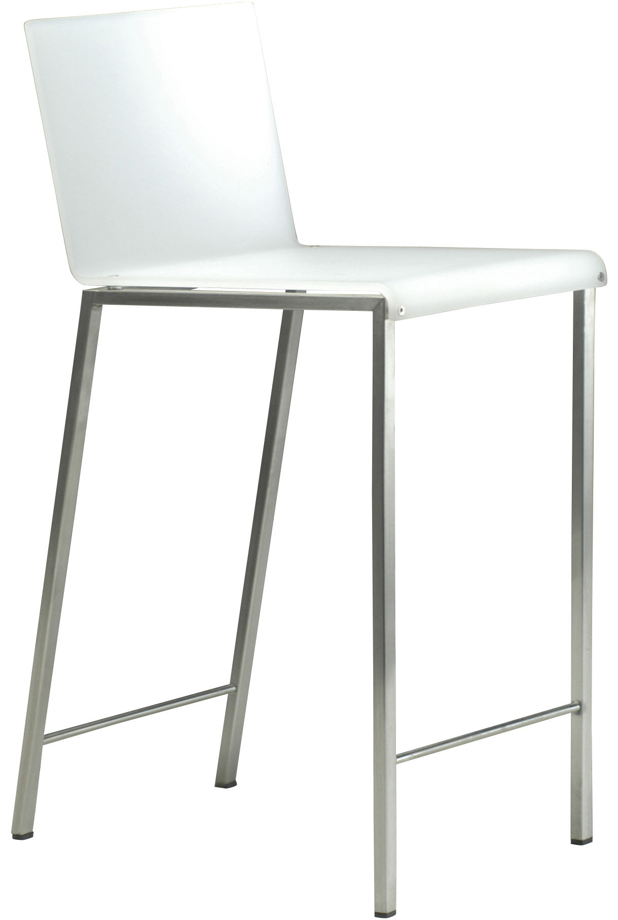 Furniture - Bar Stools - Bianco Bar chair - Matt / H 64 cm by Zeus - White opalin H assise 64 cm - Acrylic resin, Sandy steel
