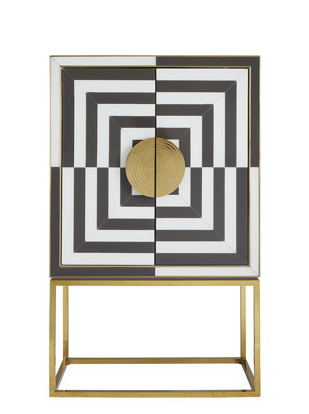 Möbel - Aufbewahrungsmöbel - Op Art Bar / Bar - Limitierte Ausgabe - Jonathan Adler - Kohlenschwarz & Elfenbeinweiß / Messing - Glas, lackiertes Holz, Laiton poli