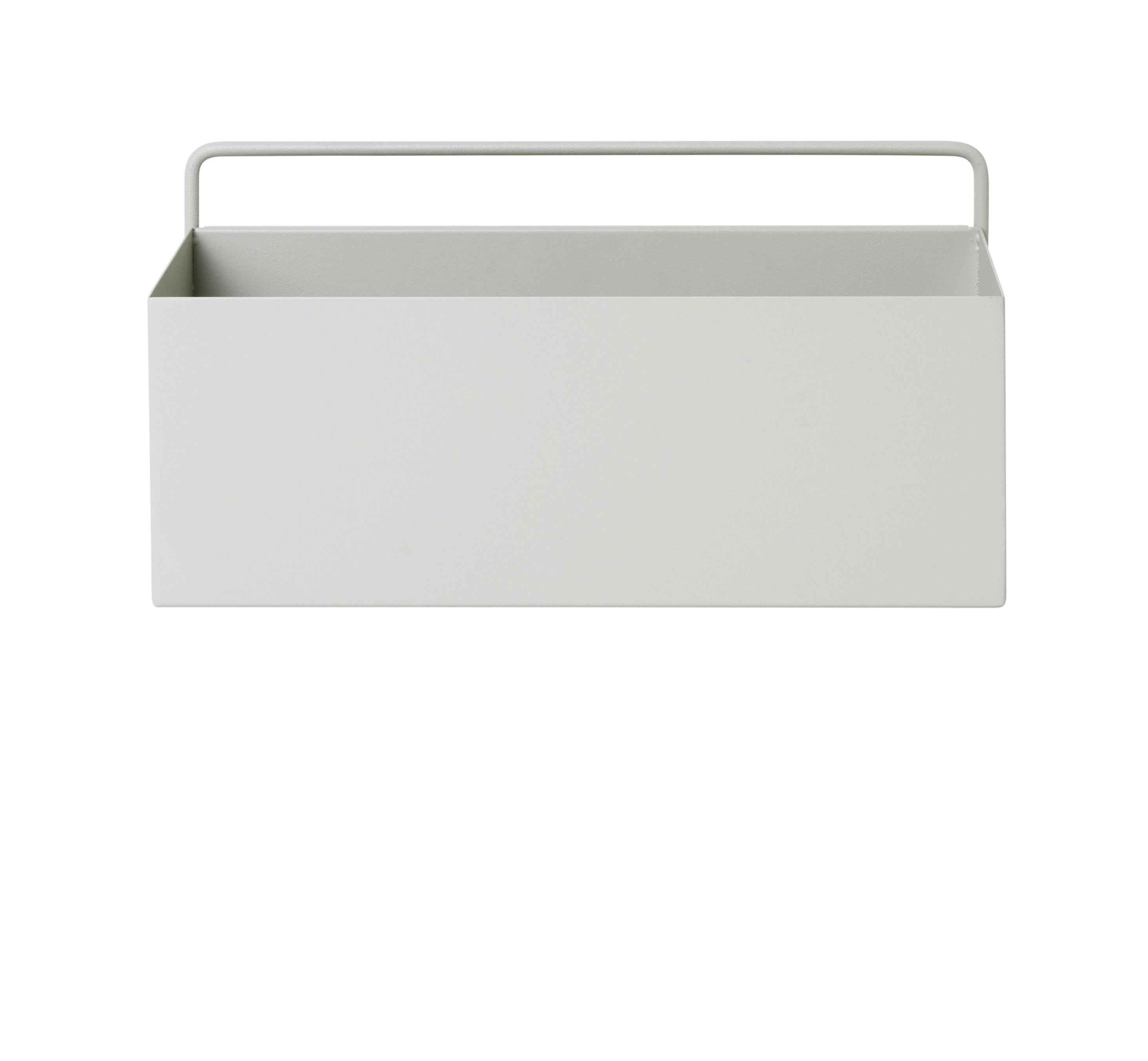 Outdoor - Töpfe und Pflanzen - Rectangle Blumentopf / L 30,6 cm x H 15,6 cm - Ferm Living - Hellgrau - epoxy-beschichtetes Metall