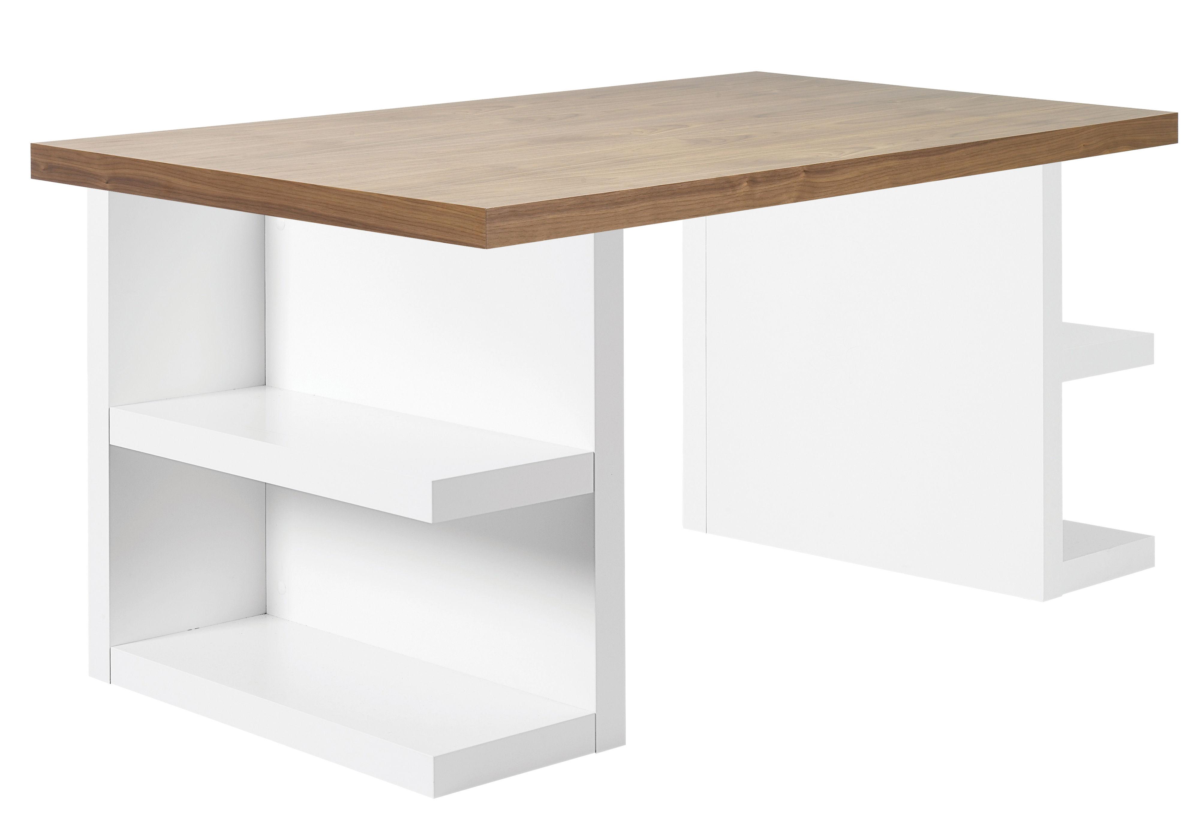 Mobilier - Bureaux - Bureau Buttress / Etagères intégrées - L 180 cm - POP UP HOME - Noyer / Piétement blanc - Aggloméré peint, Aggloméré plaqué noyer
