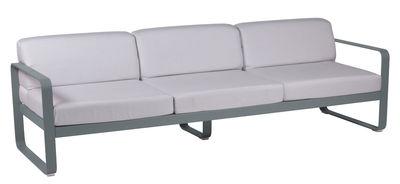 Mobilier - Canapés - Canapé droit Bellevie 3 places / L 235 cm - Tissu blanc grisé - Fermob - Gris orage / Tissu blanc grisé - Aluminium laqué, Mousse, Tissu acrylique