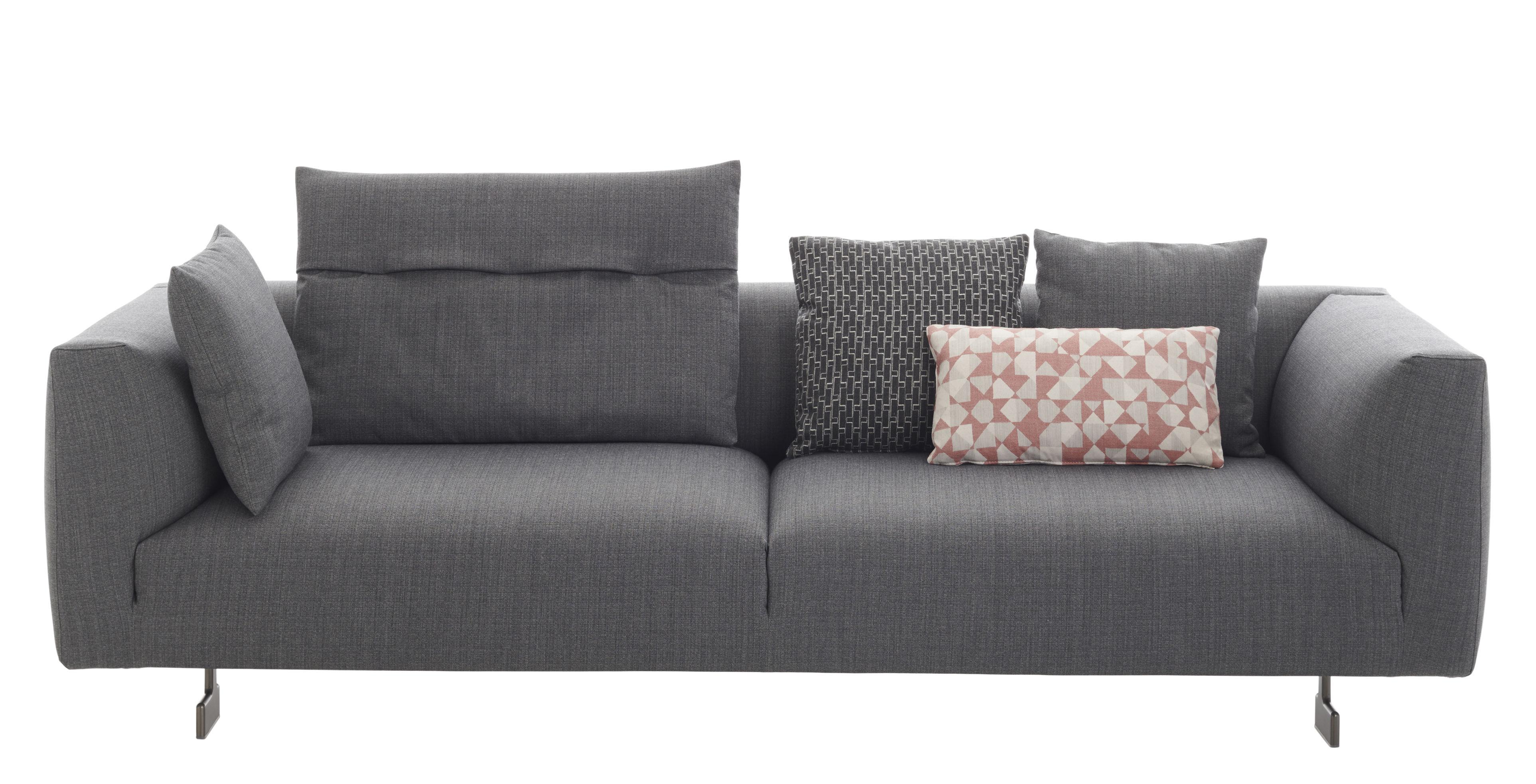 Mobilier - Canapés - Canapé droit Kim / 3 places - L 238 cm - Zanotta - Gris - Aluminium laqué, Mousse, Tissu