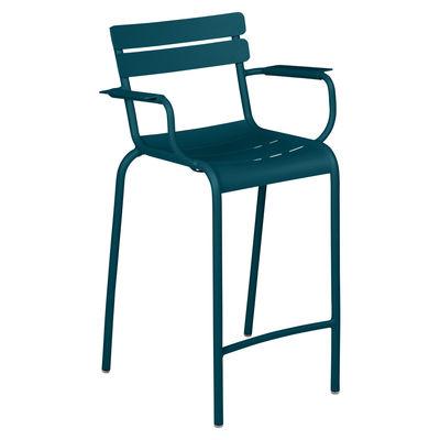 Chaise de bar Luxembourg Bridge / H 69,5 cm - Accoudoirs - Fermob bleu en métal