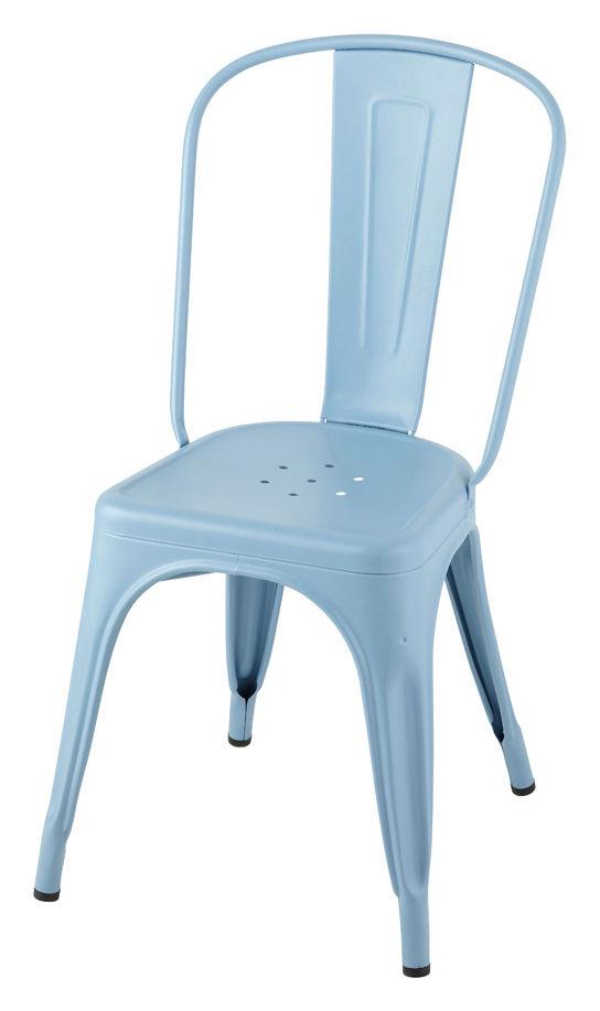 Mobilier - Chaises, fauteuils de salle à manger - Chaise empilable A / Acier - Couleur mate - Tolix - Bleu pastel (mat) - Acier laqué
