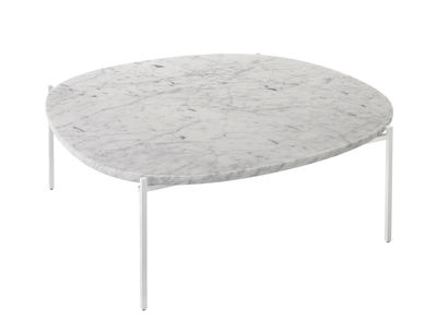 Furniture - Coffee Tables - Niobe Coffee table - Marble - 110 x 101 cm by Zanotta - White Carrara marble / White feet - Steel, White Carrara marble
