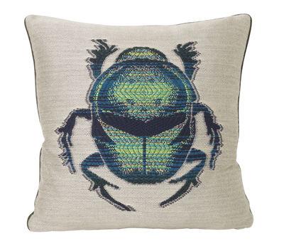 Decoration - Cushions & Poufs - Salon - Scarabée Cushion - / 40 x 40 cm by Ferm Living - White & green / Butterfly - Mixed-fibre, Velvet