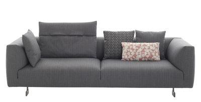 Arredamento - Divani moderni - Divano destro Kim - / 3 posti - L 238 cm di Zanotta - Grigio - Alluminio laccato, Espanso, Tessuto