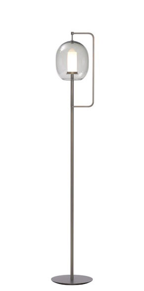 Lighting - Floor lamps - Lantern Floor lamp - / H 135 cm by ClassiCon - Burnished brass / Smoked grey - Blown glass, Burnished solid brass