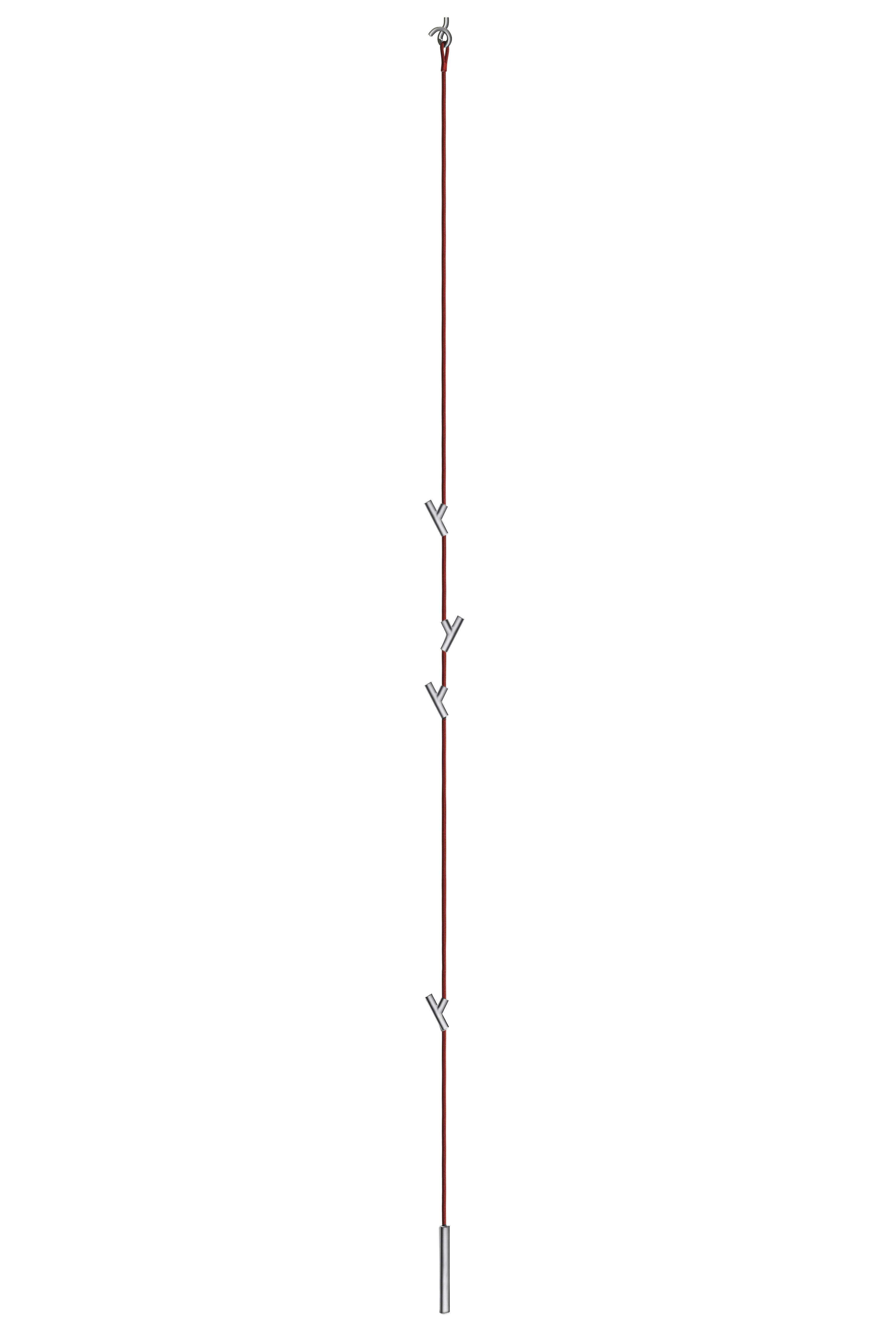Möbel - Garderoben und Kleiderhaken - Wardrope Garderobe Hängegarderobe mit 4 Haken - Authentics - Rotes Seil / matt-verchromte Haken - Polyamid, Stahl, Zink