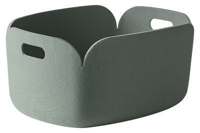 Dekoration - Körbe und Ablagen - Restore Korb 100% recyceltes Material - Muuto - Aschgrün - Filz