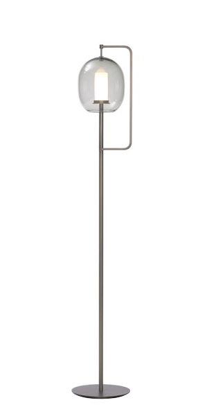 Luminaire - Lampadaires - Lampadaire Lantern / H 135 cm - ClassiCon - Laiton bruni / Gris fumé - Laiton massif bruni, Verre soufflé