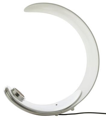 Luminaire - Lampes de table - Lampe de table Curl LED  - Luceplan - Blanc / Base chromée - Aluminium poli, Technopolymère