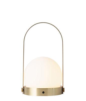 Luminaire - Lampes de table - Lampe sans fil Carrie LED / Recharge USB - Métal & verre - Menu - Laiton brossé - Laiton brossé, Verre opalin