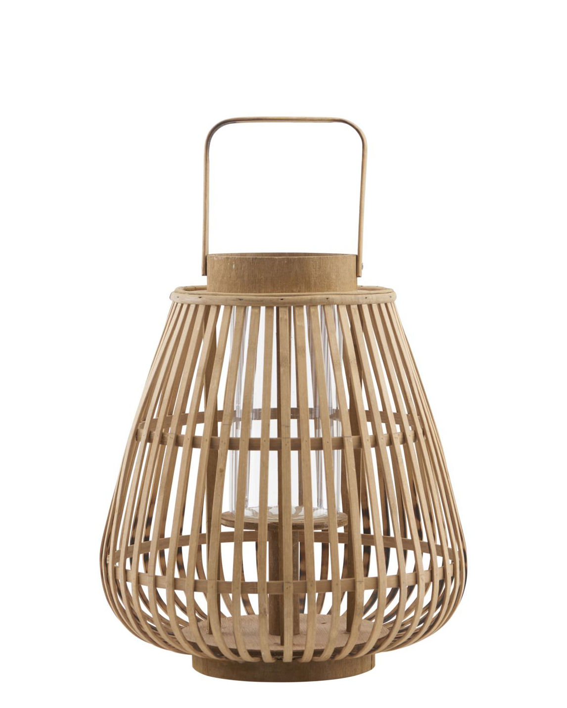 Outdoor - Ornaments & Accessories - Valu Lantern - / Bamboo - H 33 cm by House Doctor - Valu / Bamboo - Bamboo, Glass